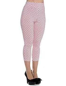 Pantalones piratas de Hell Bunny Rosa Kay Lunares de estilo Vintage de los 50s
