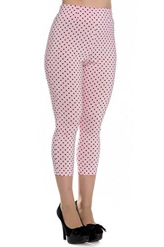 Pantalones piratas de Hell Bunny Rosa Kay Lunares de estilo Vintage de los 50s - Rosa Bebé (S - ES 38)
