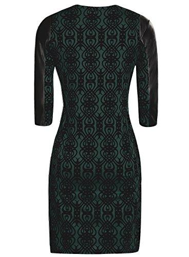 oodji Ultra Damen Kleid mit Flock-Druck und Lederimitat-Besatz Grün (6929O)