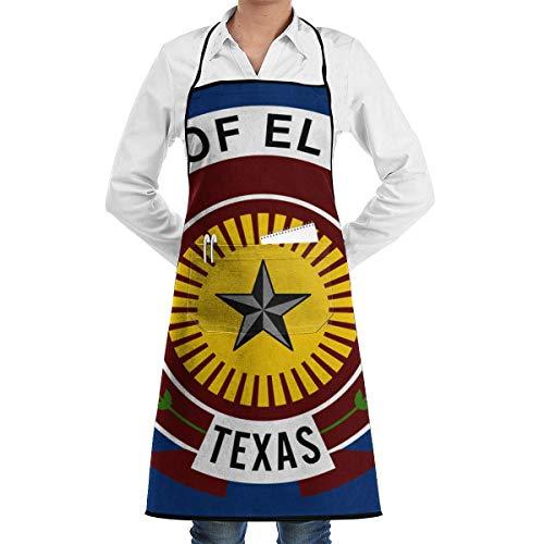 xcvgcxcvasda Einstellbare Latzschürze mit Tasche, Flag of EL Paso Bib Schürze for Women Men Waterproof Chef Schürze with Front Pocket for Kitchen Cooking Craft Baking