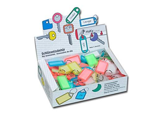 Paulat Schlüsselanhänger oder auch Klapp-Anhänger aus Kunststoff mit Ring, aufklappbar und beidseitig lesbar (Groß - Nr. 12) (100 Stück (farbig Sortiert))