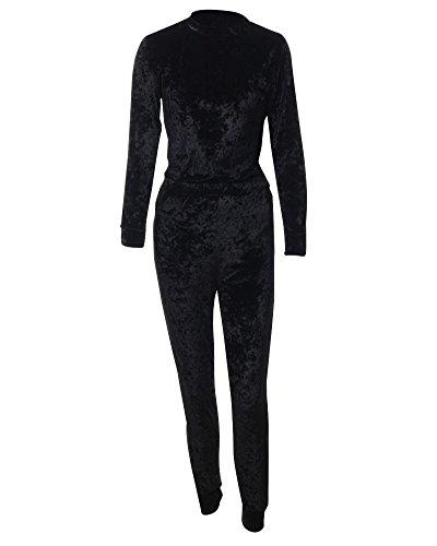 Donna Calda Sportiva Sweatshirt+Pantaloni Jogging Autunno Inverno Casual Tasche Pullover Nero