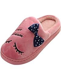 TEFAMORE Femmes Chaud Lettre en Peluche Doux Pantoufles À L'intérieur Antidérapant Chaussures De Chambre De Plancher