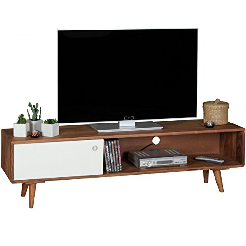 TV Lowboard REPA Sheesham Massivholz mit 1 Tür 140 x 40 x 35 cm | TV Hifi Regal im Retro-Design | Fernsehschrank TV-Board in dunkelbraun / weiß