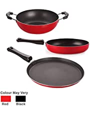 Nirlon Non-Stick Aluminium Mini Cookware Set (Tawa, Fry Pan, Kadhai), Red