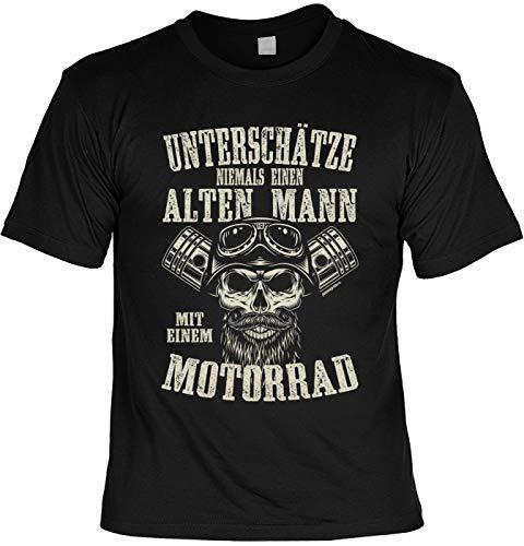 Biker T-Shirt Unterschätze Niemals Einen Alten Mann mit Einem Motorrad Cooles Motorrad Laiberl Biker