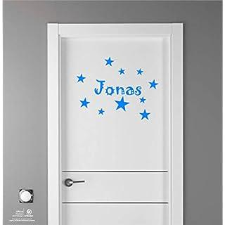 Artstickers Kinder Aufkleber für Möbeldekorationen, Türen, Wände. Name: Jonas, In blau, der Name in 20 cm + Zehnerpaket Sterne für freie Anbringung.