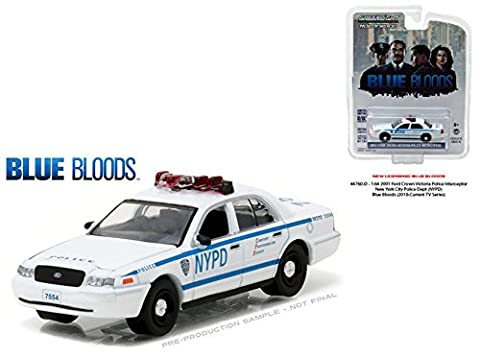 GREENLIGHT 1:64 HOLLYWOOD SERIES 16 - 2001 FORD CROWN VICTORIA POLICE INTERCEPTOR - NEW YORK CITY POLICE DEPARTMENT (NYPD) - BLUE BLOODS (2010-CURRENT TV SERIES)