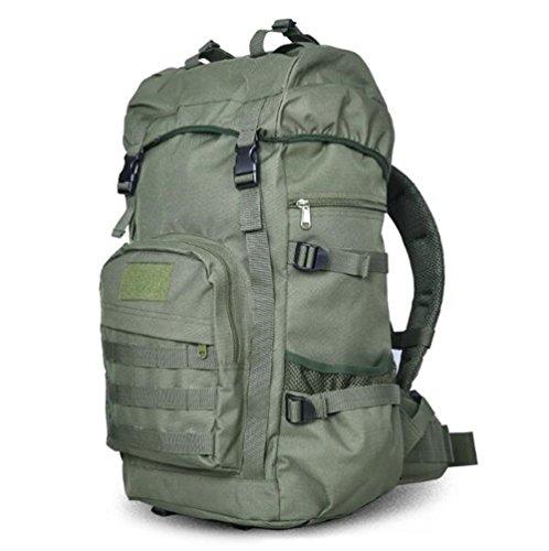 Shuling zaino per alpinismo esterno zaino mimetico zaino tattico borsa per secchio a grande capacità, verde militare, 50 litri