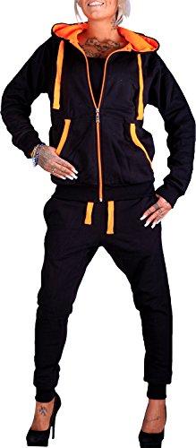 Damen Jogging-Anzug | Uni 704 (XL-fällt groß aus, Schwarz-Orange)