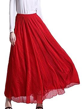Minetom Mujeres Verano Larga Faldas Skirts Playa Tul Cintura Elástico Vestido Dress Elegante Fiesta Partido