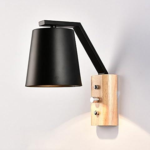 Lampe Murale Applique Murale en Bois Moderne Simple Créative Chambre à Coucher Chaise de Balcon Applique Murale en Bois Massif,Noir