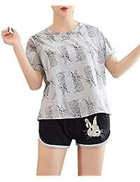 8128068d Mujer Pijamas Mujer Camiseta + Shorts Dos Piezas Verano Cartoon Animal Estampadas  Conjunto De Pijama Fashion Clásico Elegantes Manga…
