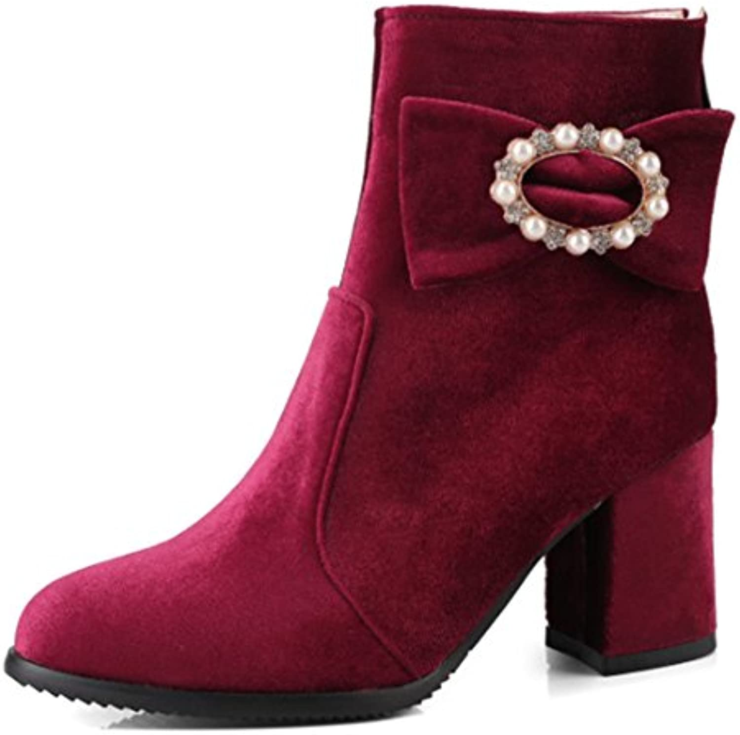 240fbca0ccd Easemax Easemax Easemax Women s Chic Elegant Mid Chunky Heel Bows Beaded  Zip Up Faux Suede Pointed
