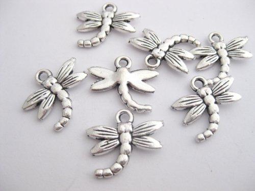 20 ciondoli a forma di libellula in argento, 18 mm x 16 mm CH021C