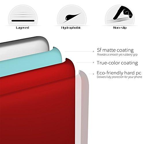 SLEO Coque Pour iPhone X, iPhone 10, Etui Rigide Solide en PC Ultra Slim Mince Anti-Rayures Simple Case Etui Coque de Protection pour iPhone X, iPhone 10 - Noir Rouge