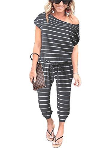 Caracilia Damen Sexy Schulterfrei Elastische Taille Strahl Fuß Overall Strampler Gestreift mit Taschen Cxie-huibai-XL CYJ02, 02-grau&weiß, XL(EU44) - Damen Overalls