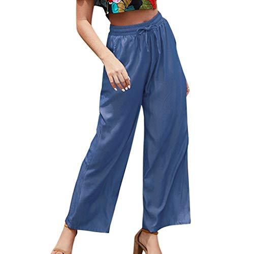 BHYDRY Gerade lose Normallack-Spitze-elastische Taillen-beiläufige Hosen der Art- und Weisefrauen(Large,Blau) -