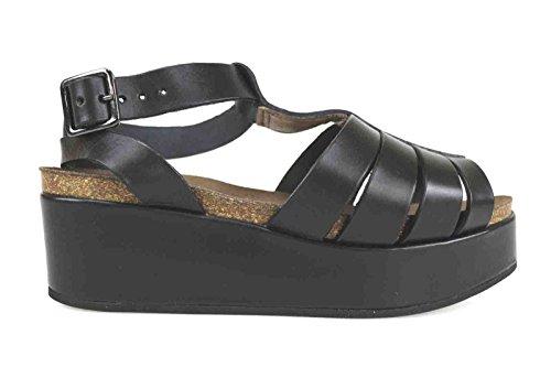scarpe donna LOGAN sandali nero pelle AK638 (40 EU)