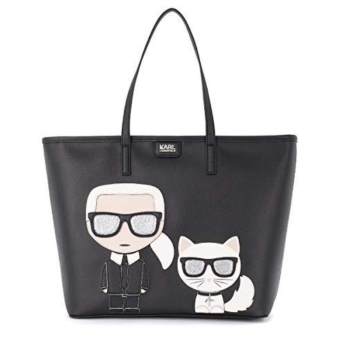 Karl Lagerfeld Sac shopper Modèle Ikonik en cuir saffiano noir