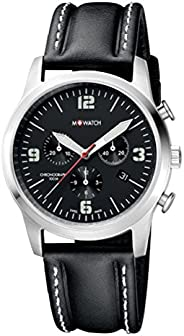 M-Watch AERO 41 Mens Leather Watch Black Display (WBL.08420.LB): This Chronograph and Pilot Watch for Men is 1