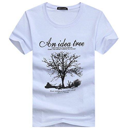 NiSeng Herren Kurze Ärmel T-Shirt Casual Rundhals Druck T-Shirt Mode Loose T-Shirt Weiß