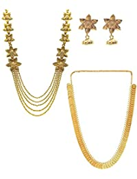 YouBella Jewelry Gold Plated Combo Of Two Traditional Necklace Set For Women Party Wear Jewellery Set With Earrings...