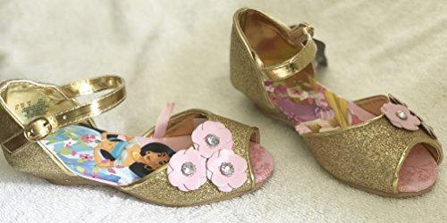 Disney Prinzessin Golden Kostüm Schuhe für Mädchen - Features Rapunzel, Ariel, Jasmin und Cinderella - Offizielle Disney. Größe UK 1 - EU33 (Ariel Schuhe Kostüm)