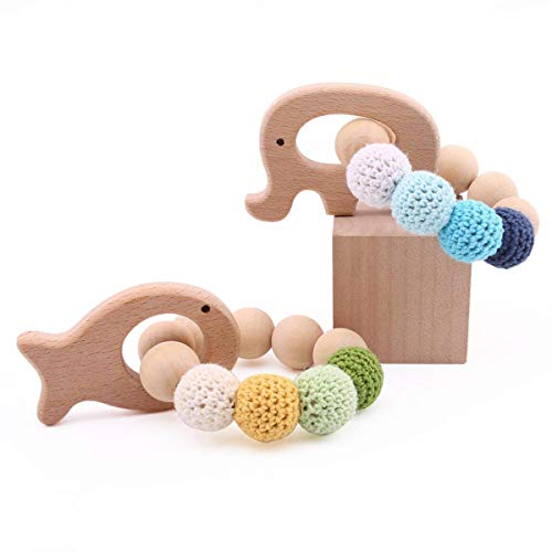 baby tete Baby Holz Beißring 2 Stück Tierförmige Armband Rassel Kaubare Häkeln Perlen Schmuck Baby Pflege Armband Diy Handwerk