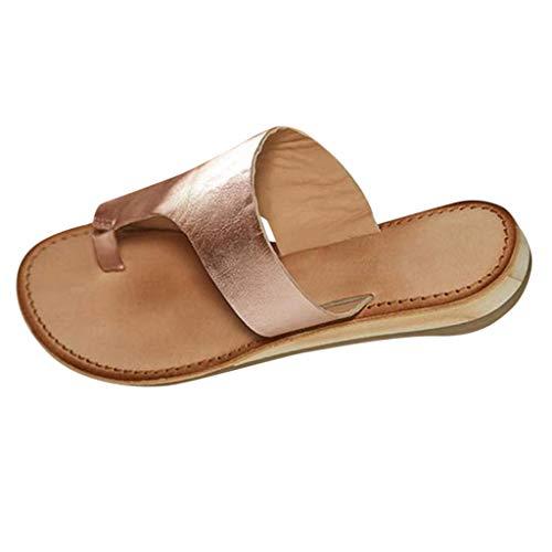 CUTUDE Damenmode für Damen Freizeit große Flache Sandalen Schuhe Slipper Übergröße Sommerschuhe Strandschuhe Pantoletten (Rose Gold, 36)