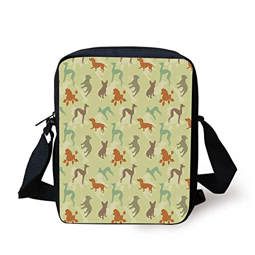 LULABE Dog Lover,French Bulldog Greyhound Poodle Terrier Silhouette Pure Breed Animals Canine Type Decorative,Multicolor Print Kids Crossbody Messenger Bag Purse