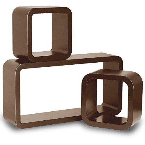 Woltu 9226-a mensole da muro mensola a cubo scaffale parete legno mdf moderno 3 pezzi diametro diverso marrone