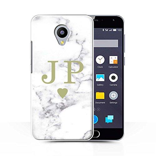 Stuff4® Personalisiert Weiß Marmor Mode Hülle für Meizu M2 Note/Solides Gold Herz Design/Initiale/Name/Text Schutzhülle/Case/Etui