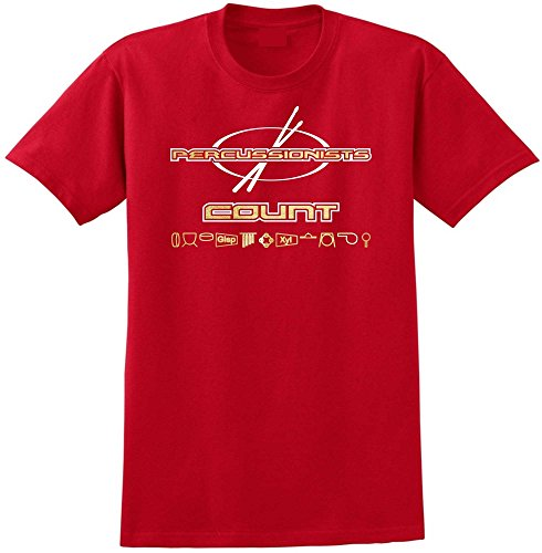 Percussion Drummers Count - Red Rot T Shirt Größe 87cm 36in Small MusicaliTee