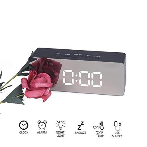 LED Spiegel Wecker Wake Up Light Elektronisch Digital Snooze Tischuhr USB Kabel für kosmetische Anwendungen Temperatur Test