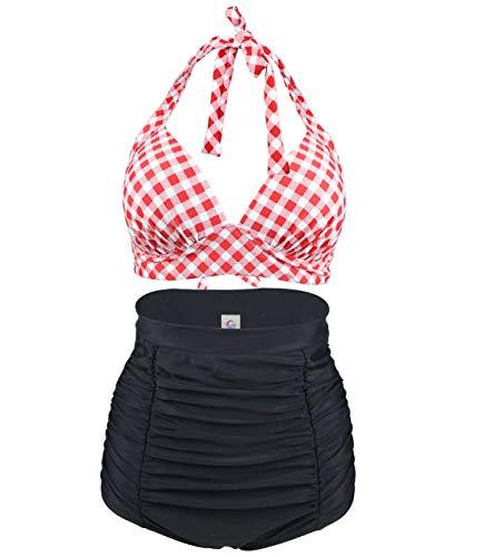 Viloree Retro 50s Damen Bademode Bikini Set Push Up Hoher Taille Bikinihose Bauchweg Kariert Rot & Weiss M