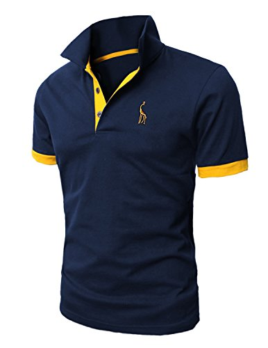 Leisure Polo Homme Manche Courte Casual T-shirt Coupe Mince Slim Fit Tee Haut Tops, Bleu 1, Large