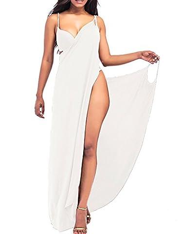 EMMA Women's Sexy V-Neck Spaghetti Strap Backless Solid Color Sarong Wrap Dress Long WHach Towel Bikini Cover Ups