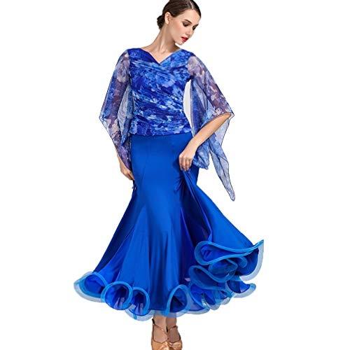 DRESSS Damen Modern Dance Rock Print Mesh Sleeve Wettbewerb Kleid Walzer Ballroom Dance Kostüm 2 Stück Set (Farbe : Royal Blue, größe : (Dance 2 Stück Kostüme)