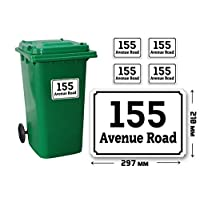 4 Set of A4(210 x 297 mm) Size Personalised Custom Wheelie Bin Stickers with Your House Number, Digit, Letter & Road Name,Waterproof Labels or Decals#PBN02 Stickers Limited