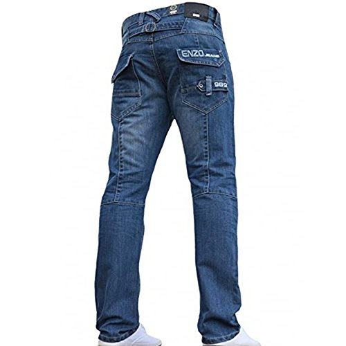 Men's Designer Enzo EZ243 EZ244 Jeans Light Dark Blue Black Grey Straight Leg