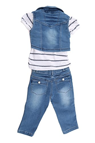 9885b90444f Arshia Fashions Girls Dress Top and Capri with Denim Jacket ...