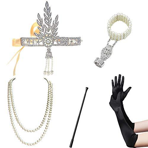 Kostüm Gatsby Flapper - ArtiDeco 1920s Flapper Set Damen Verkleidung Party Gatsby Kostüm Accessoires Set inklusive Stirnband Halskette Handschuhe Zigarettenhalter (Set-13)