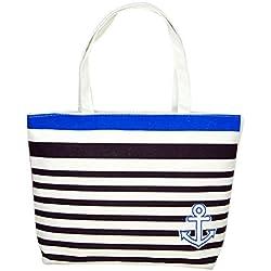 Bolso Kukul Lona Azul Ancla Patrón De Compras Bolsas De Hombro Bolsos Mujer Playa