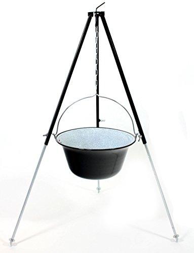 Gulaschkessel 15 Liter emailliert mit Dreibein Gestell 1,30 m schwarz