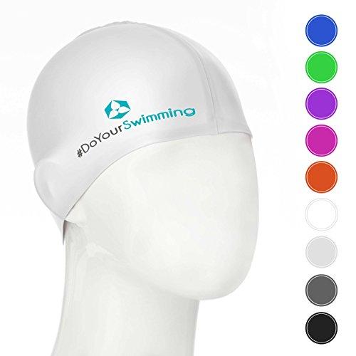 #DoYourSwimming KINDER - Badekappe/Schwimmhaube | für Kinder (Mädchen/Jungen) bis ca. 10Jahre| Silikon (100% wasserdicht) - elastische Badekappe/Schwimmkappe - Tragekomfort »Goldfisch« weiß