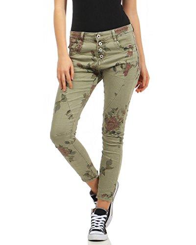 NEWPLAY Damen Boyfriends Baggy Stretch Jeans destroyed Look Damenhose Hüftjeans Fife Pocket (armee, 38) (Five-pocket-jeans Floral)