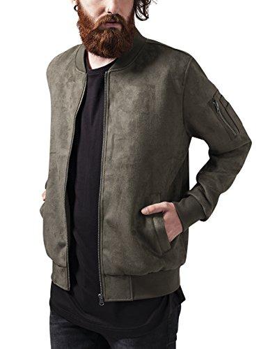 Urban Classics Herren Jacke Imitation Suede Bomber Jacket Grün (olive 176)