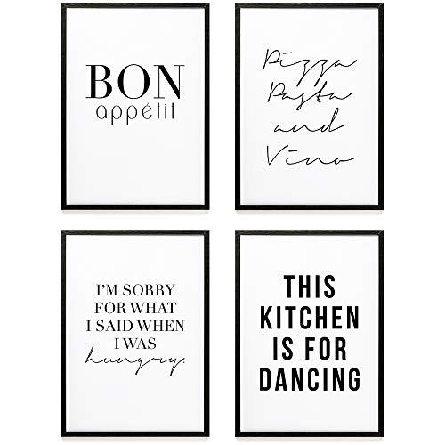 Heimlich® Premium Poster (4 Stück in DIN A4) | Große Auswahl an Motiven im Shop | auch mit Rahmen » KÜCHE « (Bilder Küche)