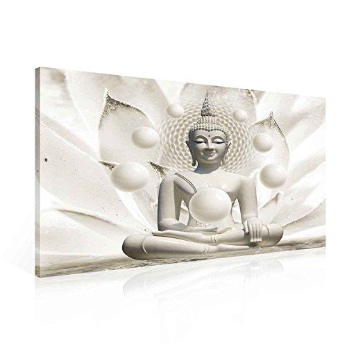 Tapeto Leinwandbild Buddha in Weiß - XXL - 100 x 75 cm - Komplettpaket! - fertig gerahmt und Inklusive Aufhängung - Hochwertige 230g/m² Leinwand auf Keilrahmen - kinderleichte Anbringung